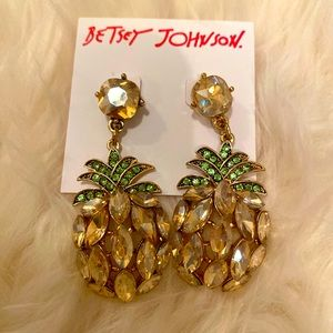 Betsy Johnson pineapple Drop Rhinestone Earrings